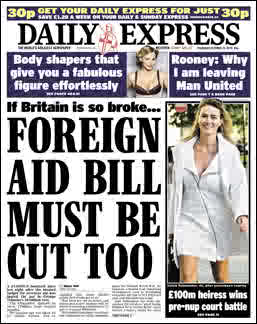 The Daily Express opposes foreign aid