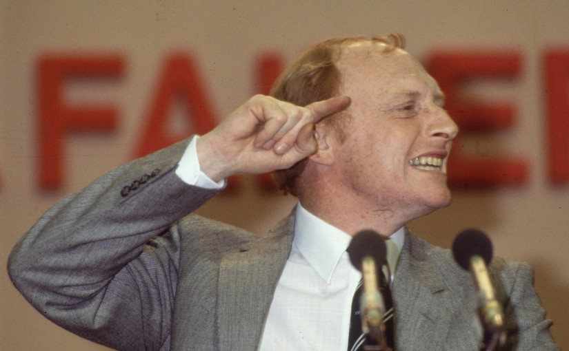 1983:  Welsh Labour politician, Neil Kinnock at the Labour Party Conference, in the year he became leader of the party.  (Photo by Hulton Archive/Getty Images)