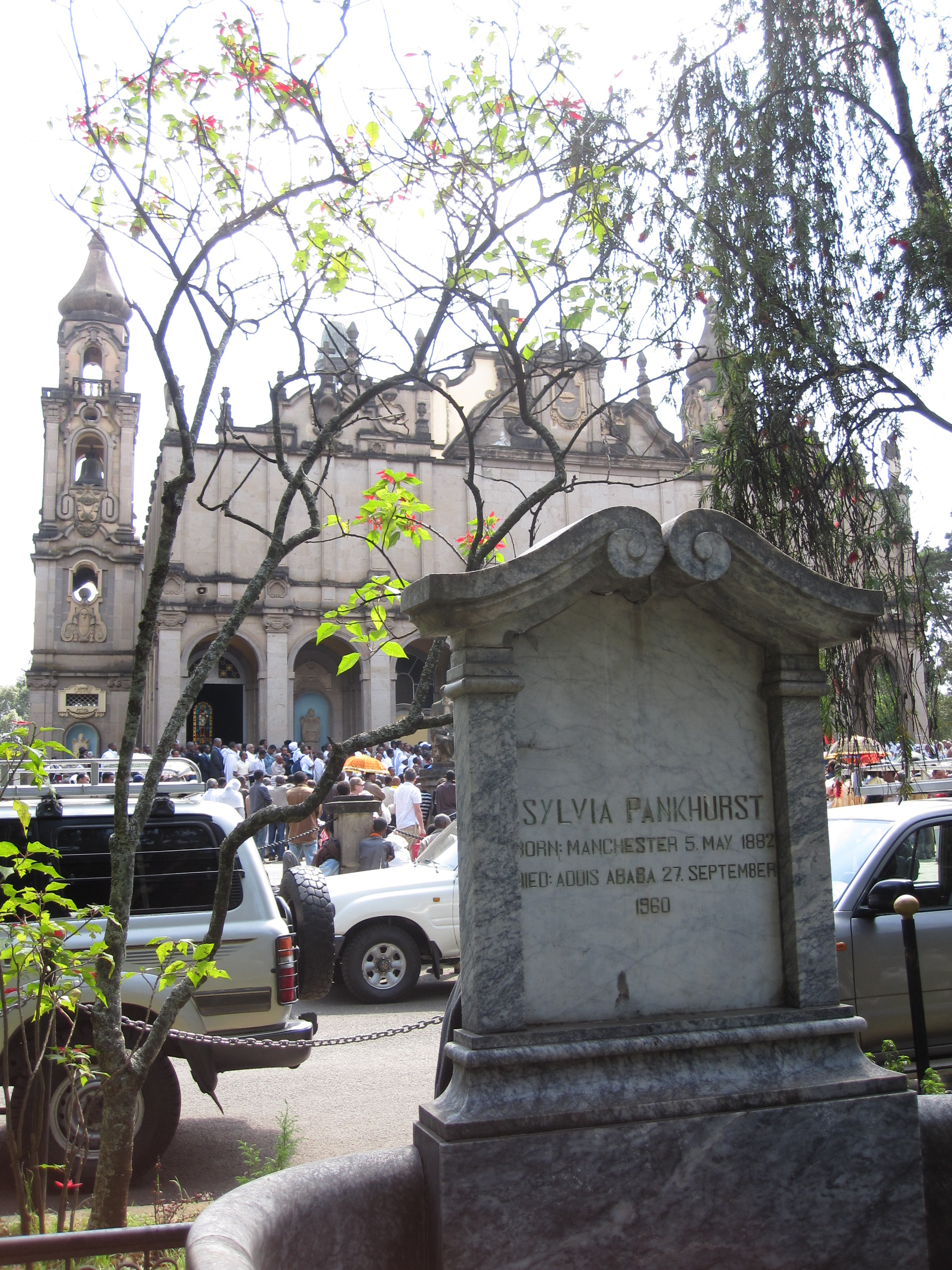 Sylvia Pankhurst's grave at Haile Selassie Church in Addis Ababa