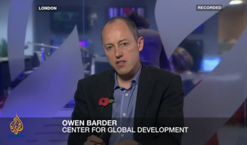 Screen capture Owen Barder on Al Jazeera, 9 November 2012