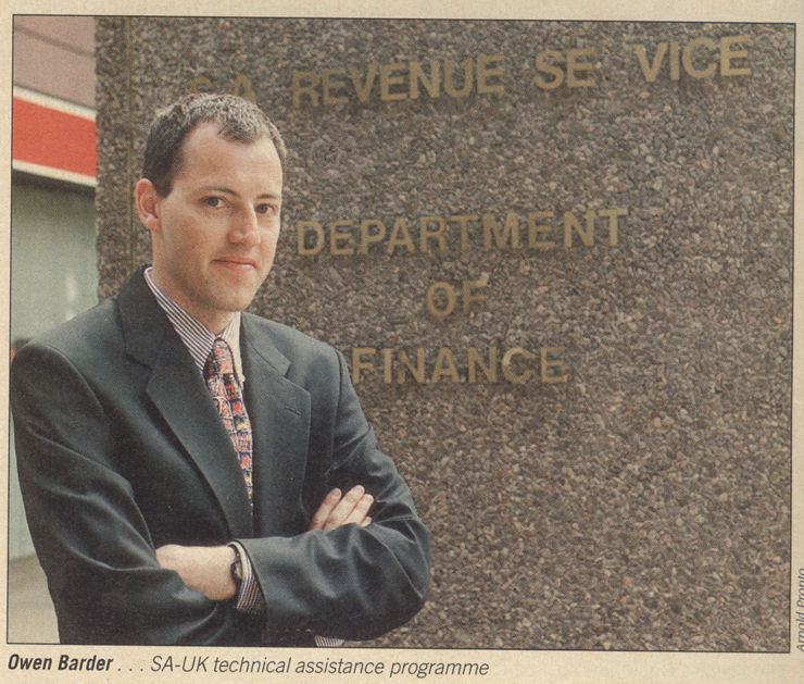 A younger me arrives at the South African Department of Finance