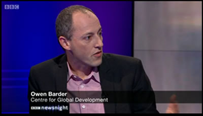 Screen grab of Owen Barder on Newsnight