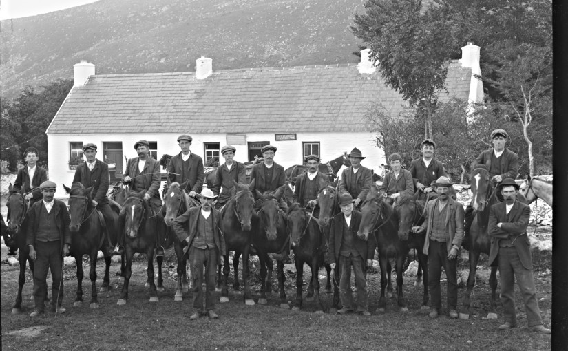 This photo of men on horseback in front of Kate Kearney's Cottage in Kerry really does bring to mind a posse in Western films, with caps instead of stetsons. Were they tour guides perhaps?