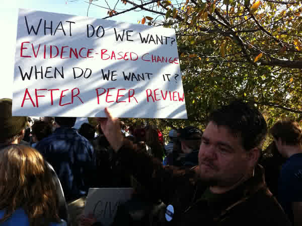 What do we want? Evidence based change. When do we want it? After peer review.