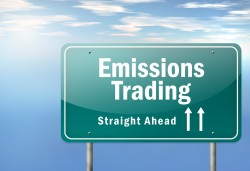 "A CGI generated road sign saying ""Emissions Trading"""