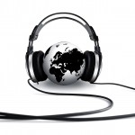 A pair of headphones wrapped around the globe