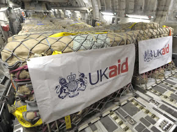 UKAid logo on humanitarian aid